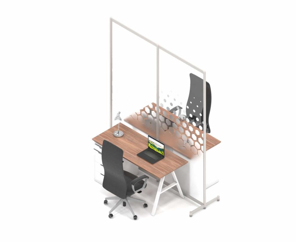 Afskærmning imellem skriveborde